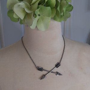 Aged Silver Crossed Arrows Necklace | New